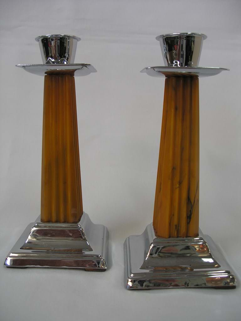 Art deco pair bakelite and chrome candle holders