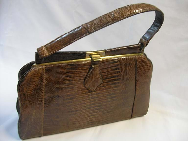 c1960 brown lizard skin handbag
