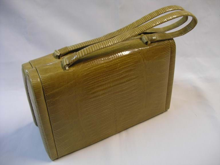 1960s light coloured lizard skin handbag