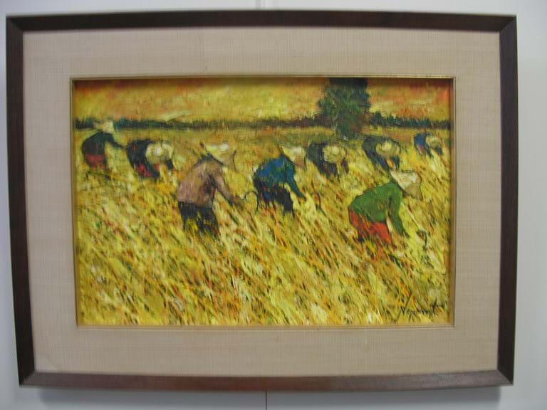 "Noparat Livisddhi oil on canvas ""Harvesting Rice"""