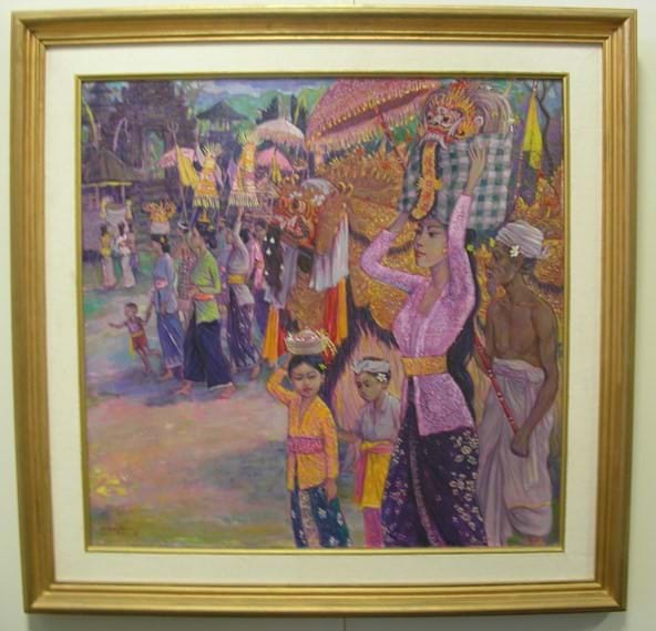 "I Wayan Bara Antara oil on canvas ""Ceremony At The Temple"""