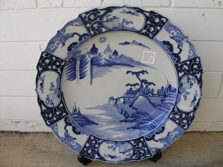 Meiji Japan Arita ware blue and white charger