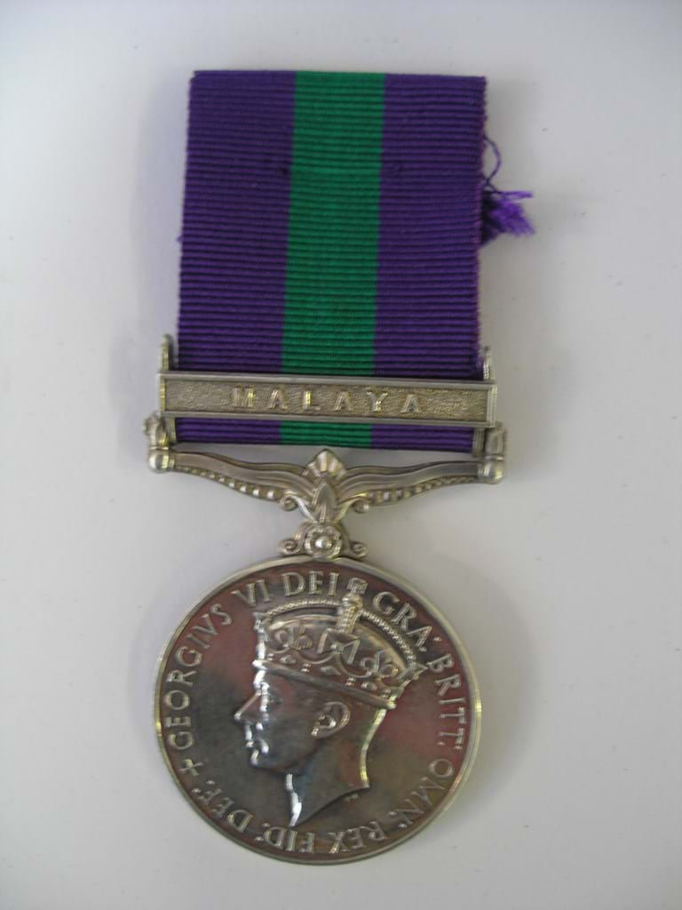 WWII British G. S. medal Malaya clasp