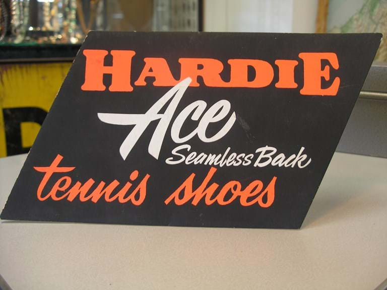 Hardie Ace tennis shoes advertising sign