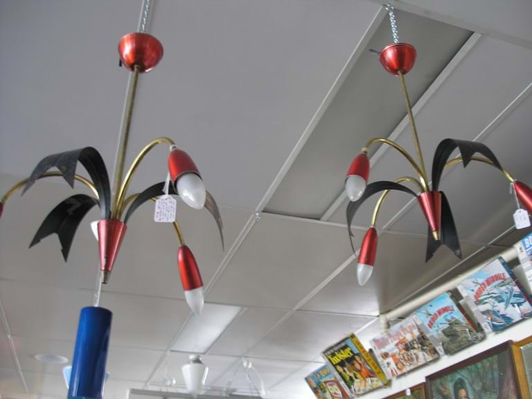 1950s three arm light fitting  red spun lacquer