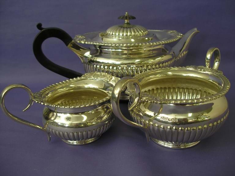 Early 20th century three piece sterling silver tea set