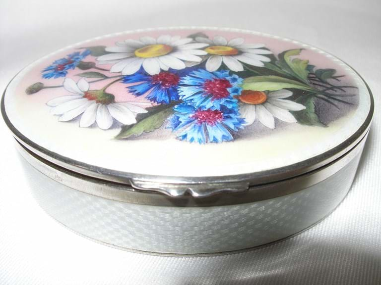 Antique French 935 sterling silver enamel box