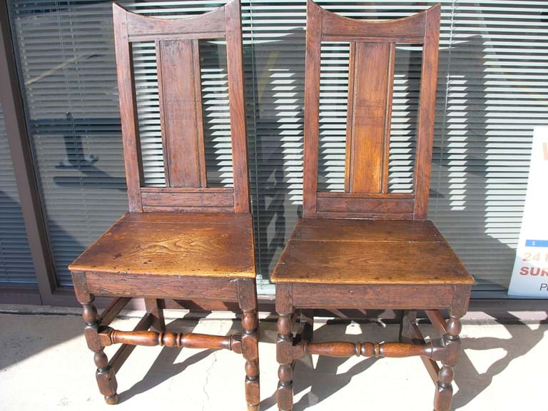 c1680 pair English oak hall chairs