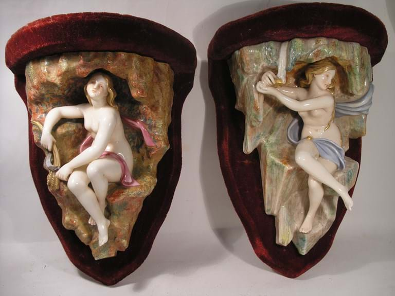 Victorian pair Royal Worcester wall plaques