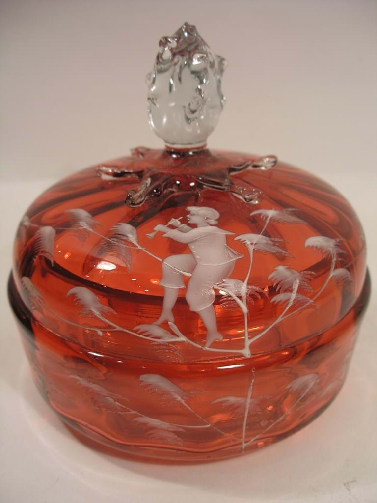 "c1900 ""Mary Gregory"" cranberry glass lidded bowl"