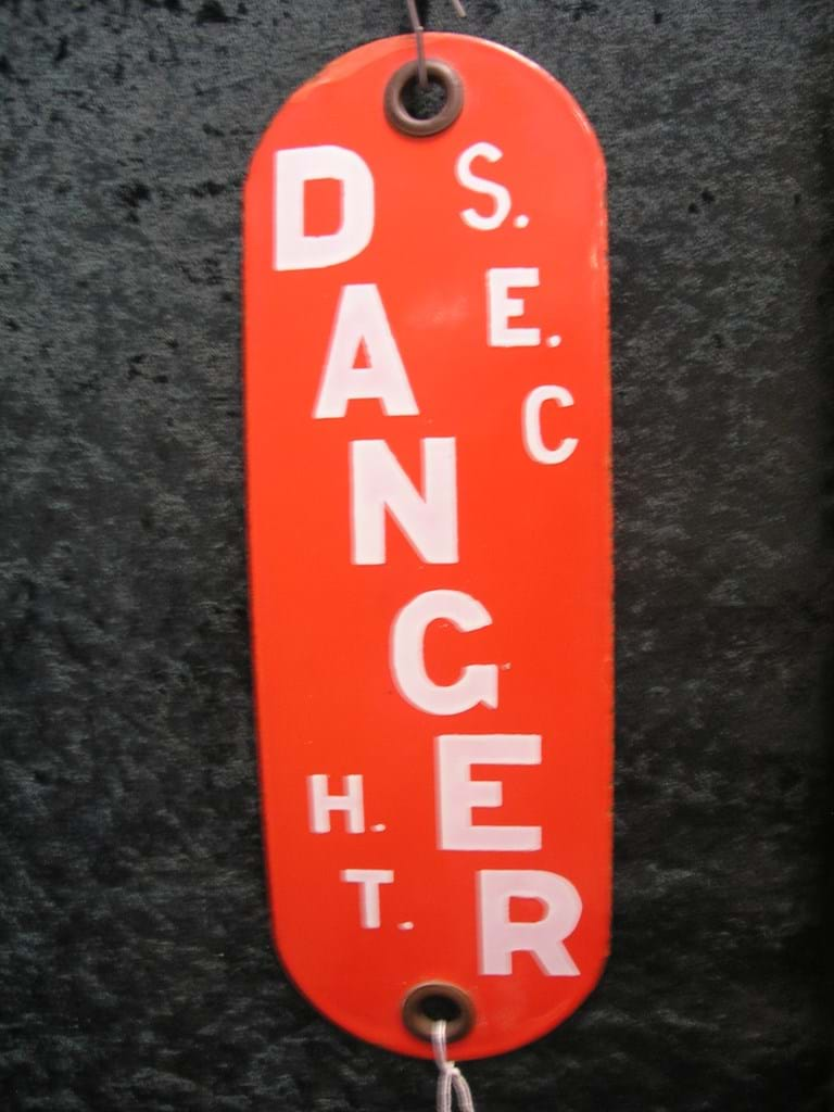 "1950s enamel State Electricity Commission ""Danger"" sign"