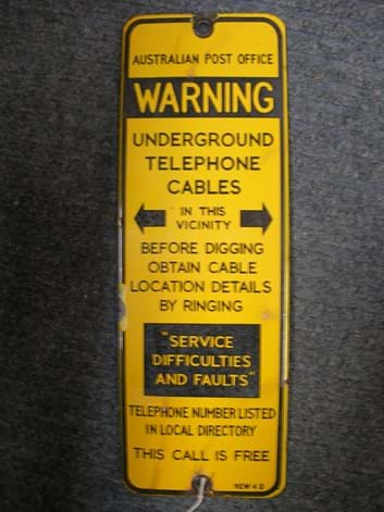 Enamel warning sign underground cables Post Office