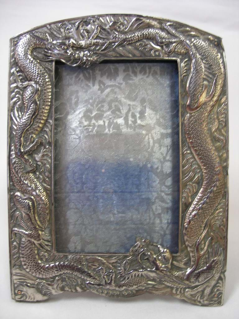 c1900 Japanese silver plate Dragons picture frame
