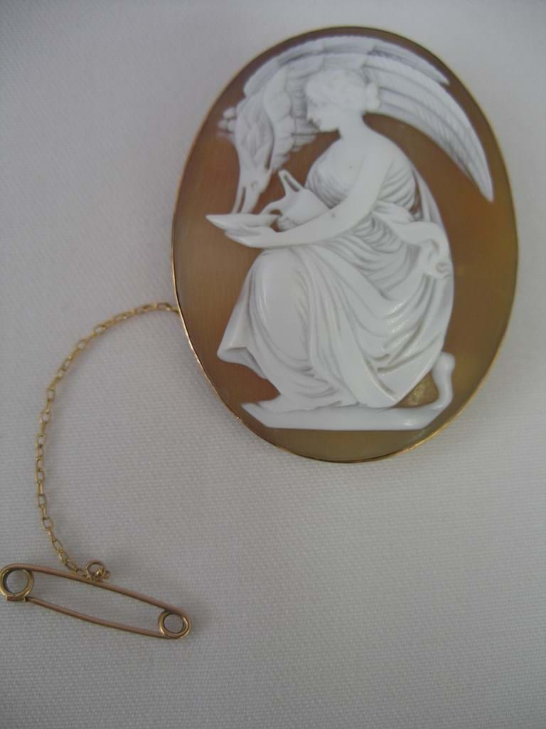 "Victorian gold framed cameo ""Leda and the Swan"""