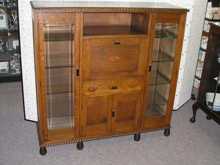 1920s oak display cabinet and cocktail unit