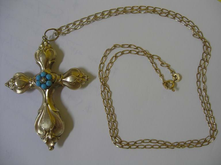 Victorian gold turquoise mourning cross and chain