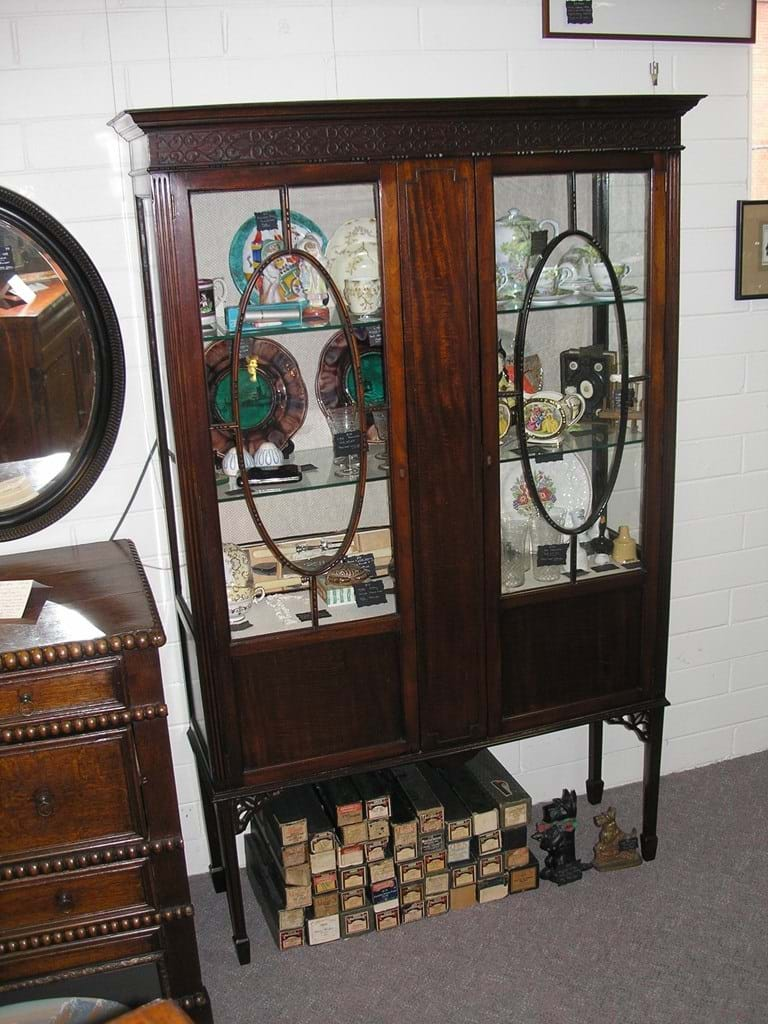 c1900 mahogany display cabinet