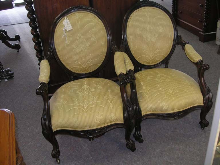 Pair Victorian walnut armchairs