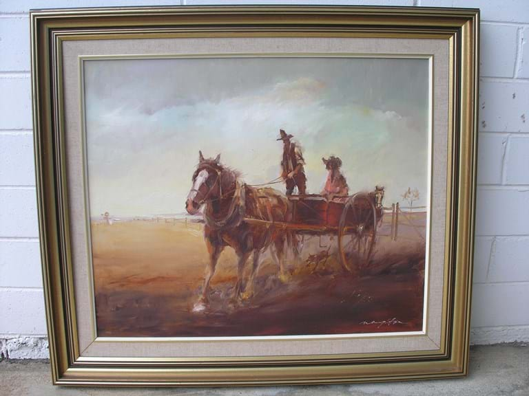 "Keith Naughton oil painting ""Driving The Boss Lady To Town"""