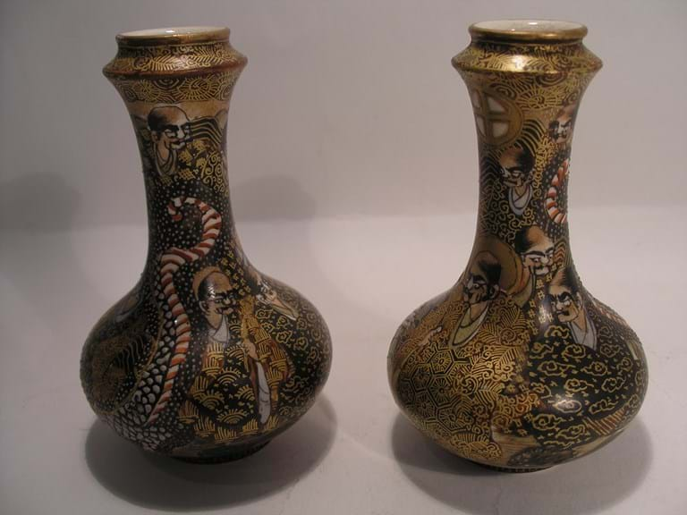 c1900 pair satsuma vases, fine decoration of dragons and The Immortals.