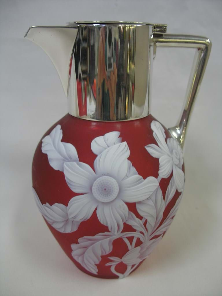 c1890 cameo glass claret jug. Either by Webb or Stevens & Williams, Stourbridge, England