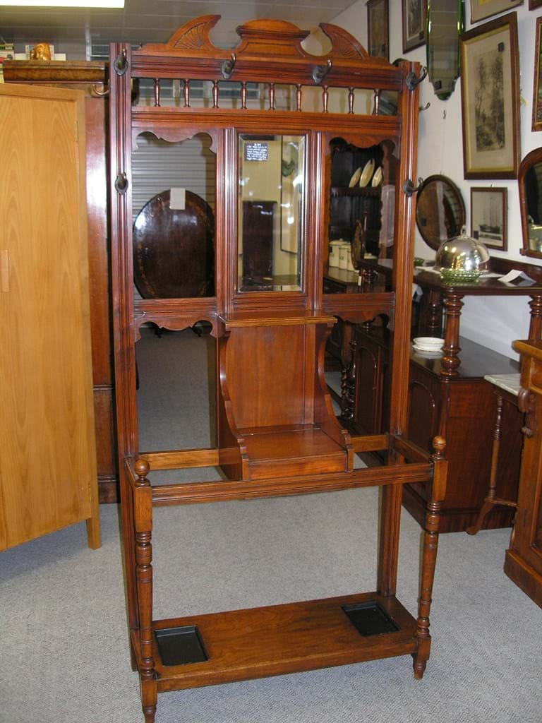 Edwardian walnut hallstand