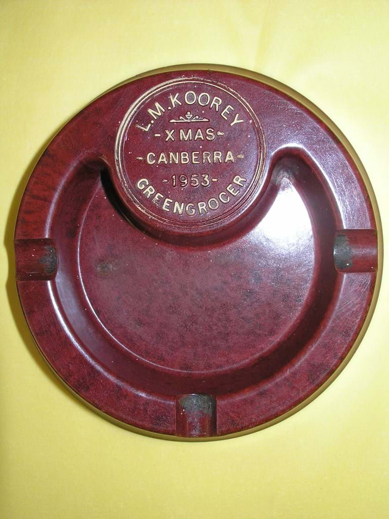 1950s bakelite ashtray advertising L. M. Koorey greengrocer, Canberra