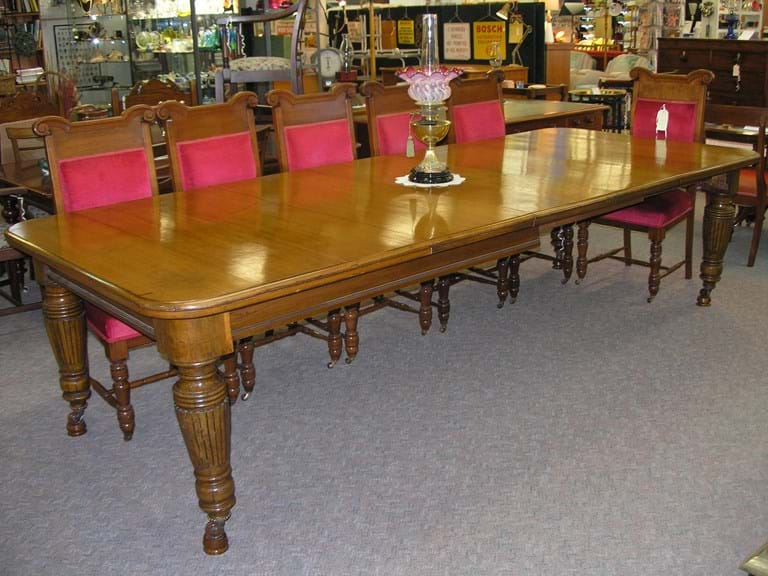 c1910 oak dining or boardroom extension table