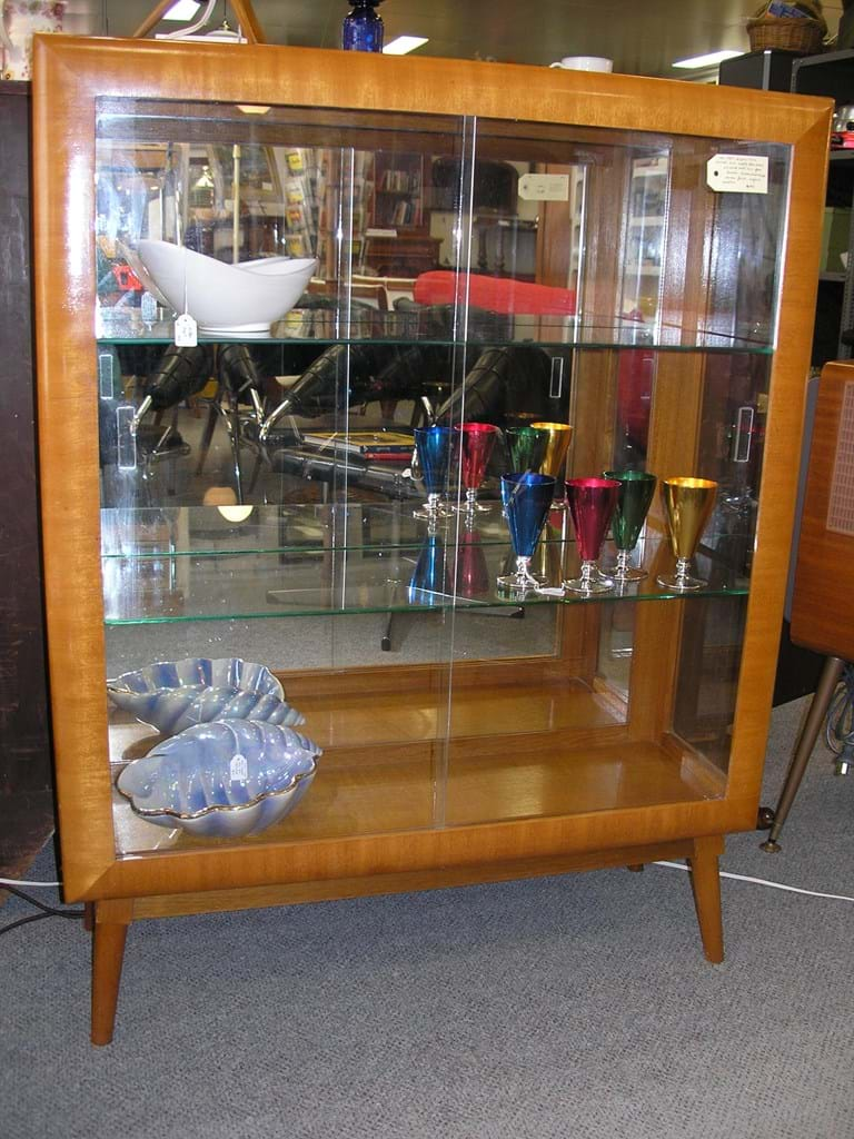 1950s maple display cabinet
