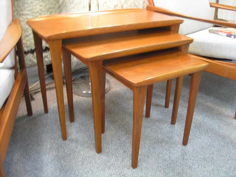 Teak nest of three tables by Burgess
