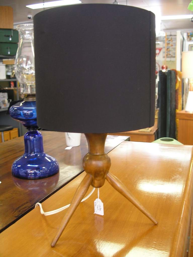 1960s timber tripod table lamp