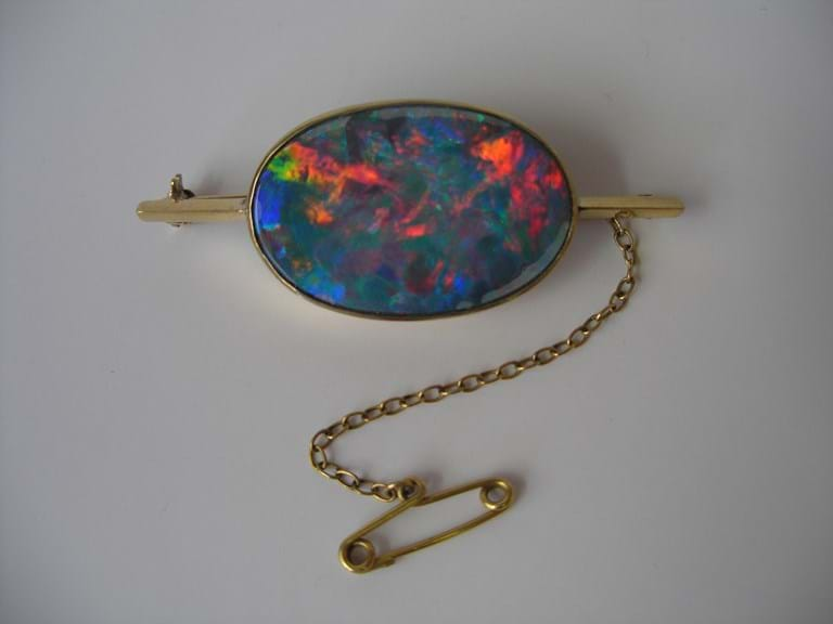 Gold opal bar brooch