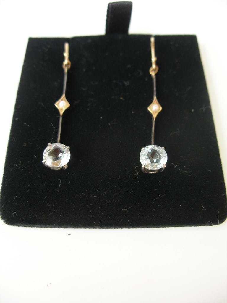 Edwardian pair gold aquamarine seed pearl earrings