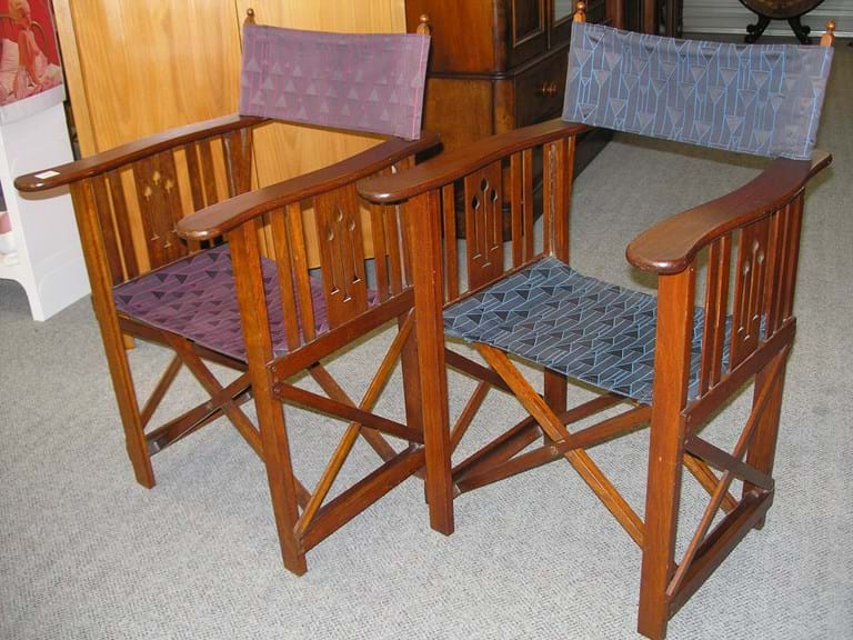 Pair Arts and Crafts maple folding chairs