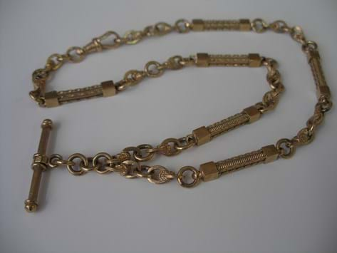 9 carat gold Albert chain and T  bar