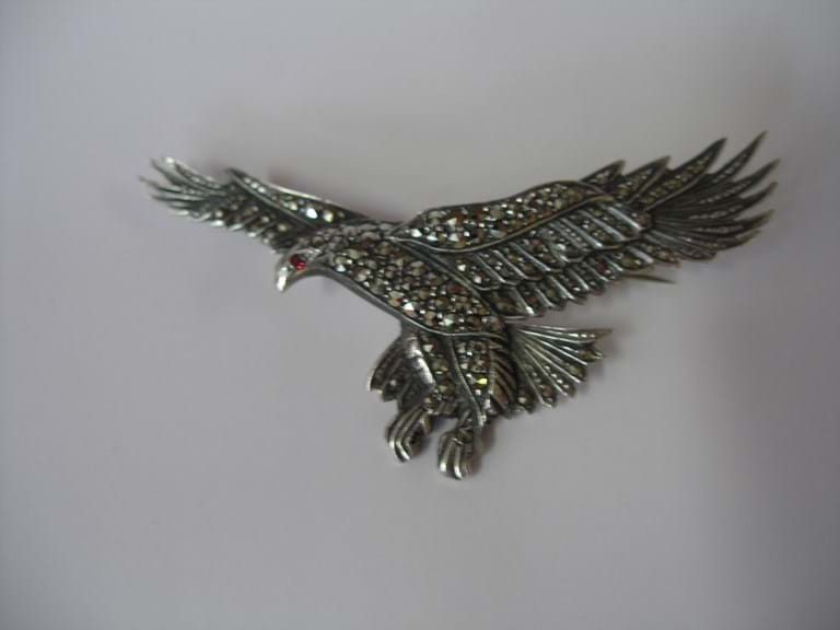 1930s marcasite eagle brooch