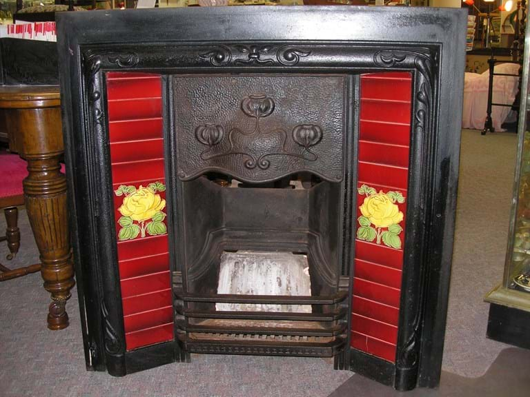 Victorian art nouveau cast iron fireplace