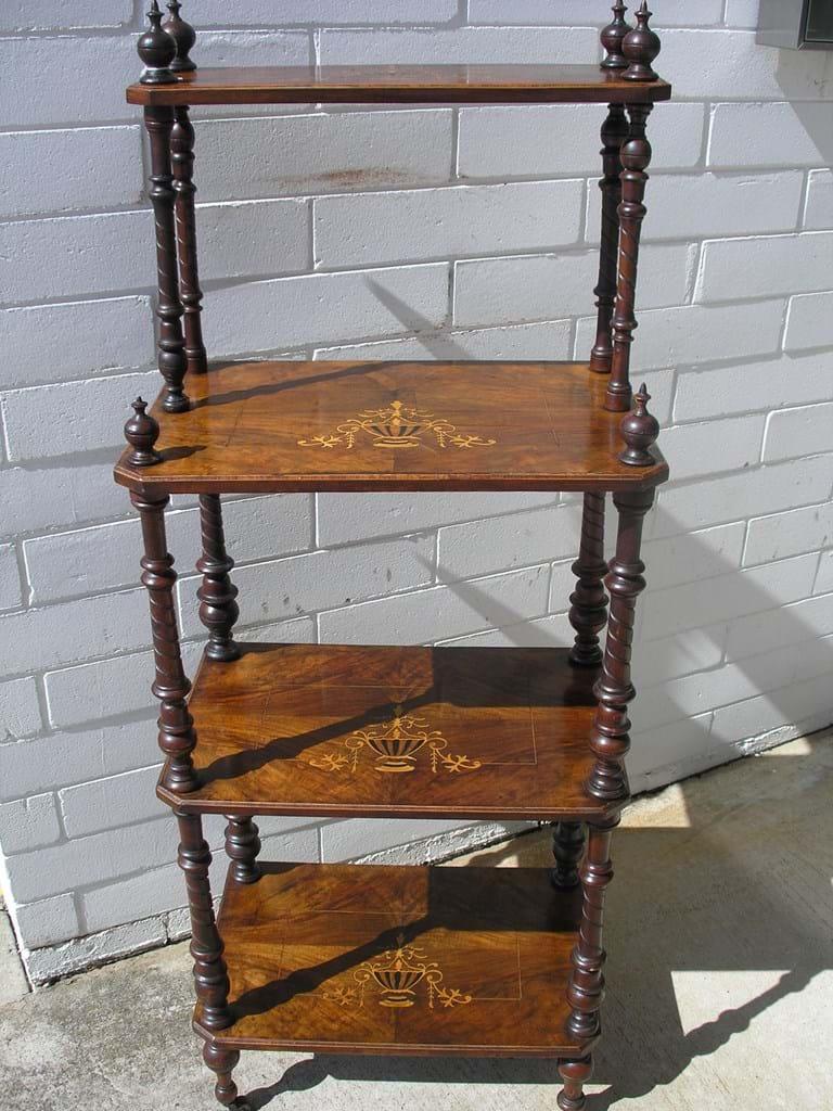 Victorian burr walnut inlay whatnot. Miscellaneous Antique Furniture   Canberra Antique Centre   Australia