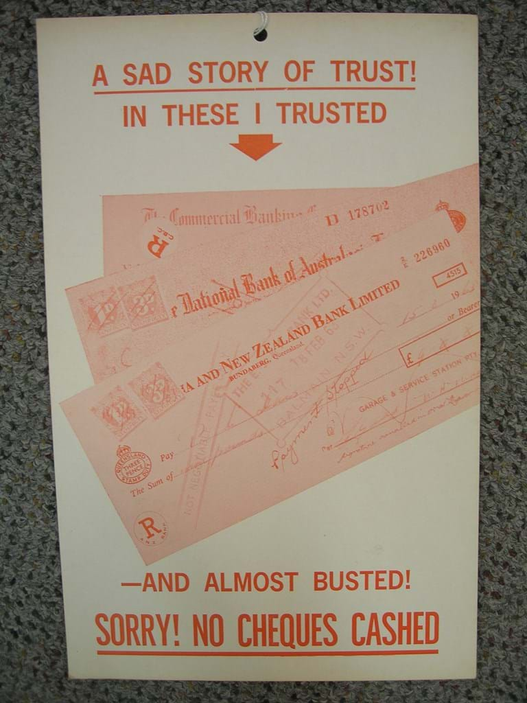 1960s NO CHEQUES CASHED cardboard sign