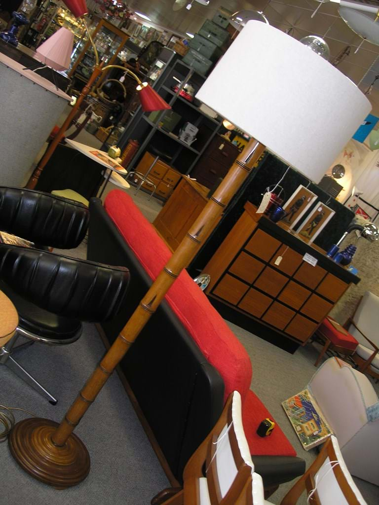 1950s faux bamboo floor lamp