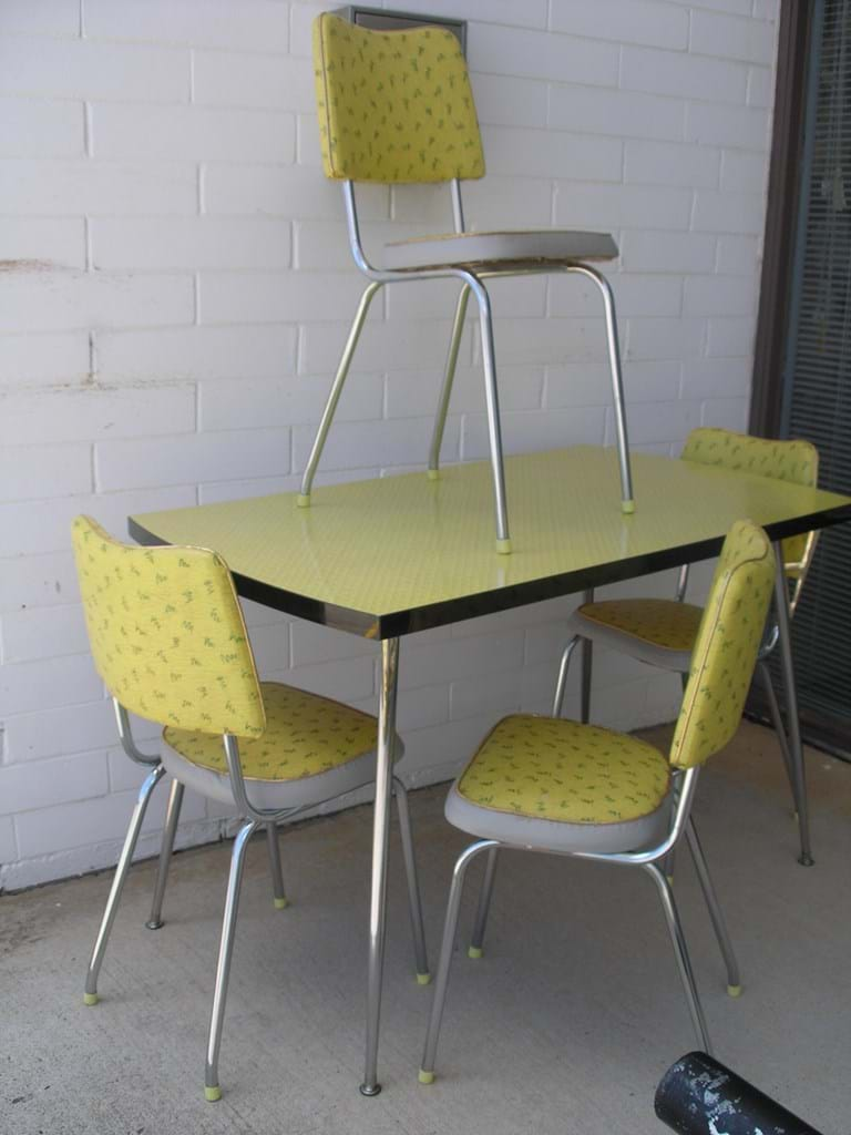 1960s kitchen/dinette table and set of four chairs