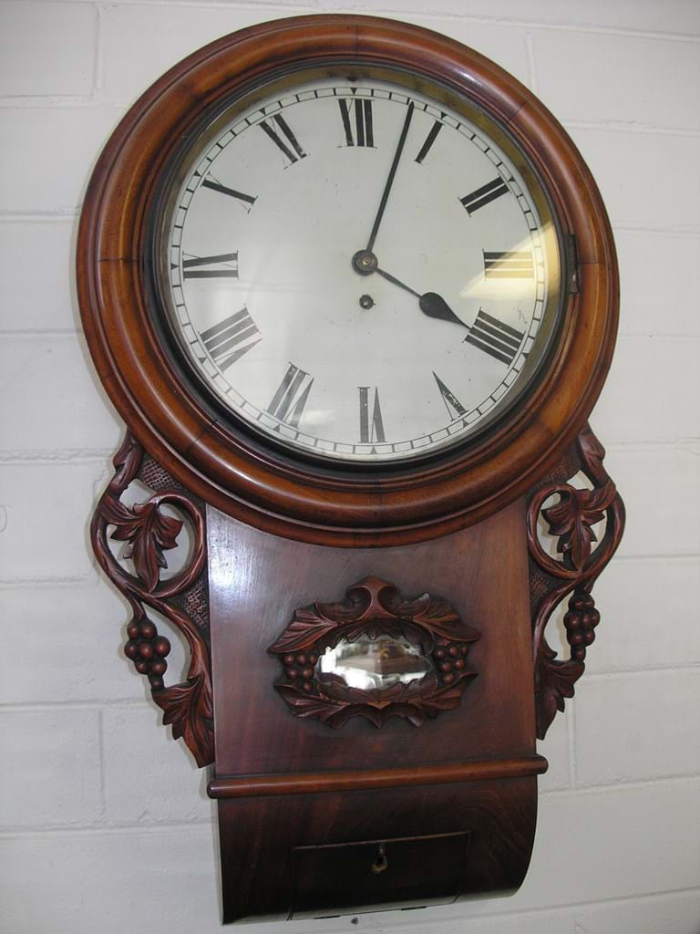 19th century mahogany wall clock