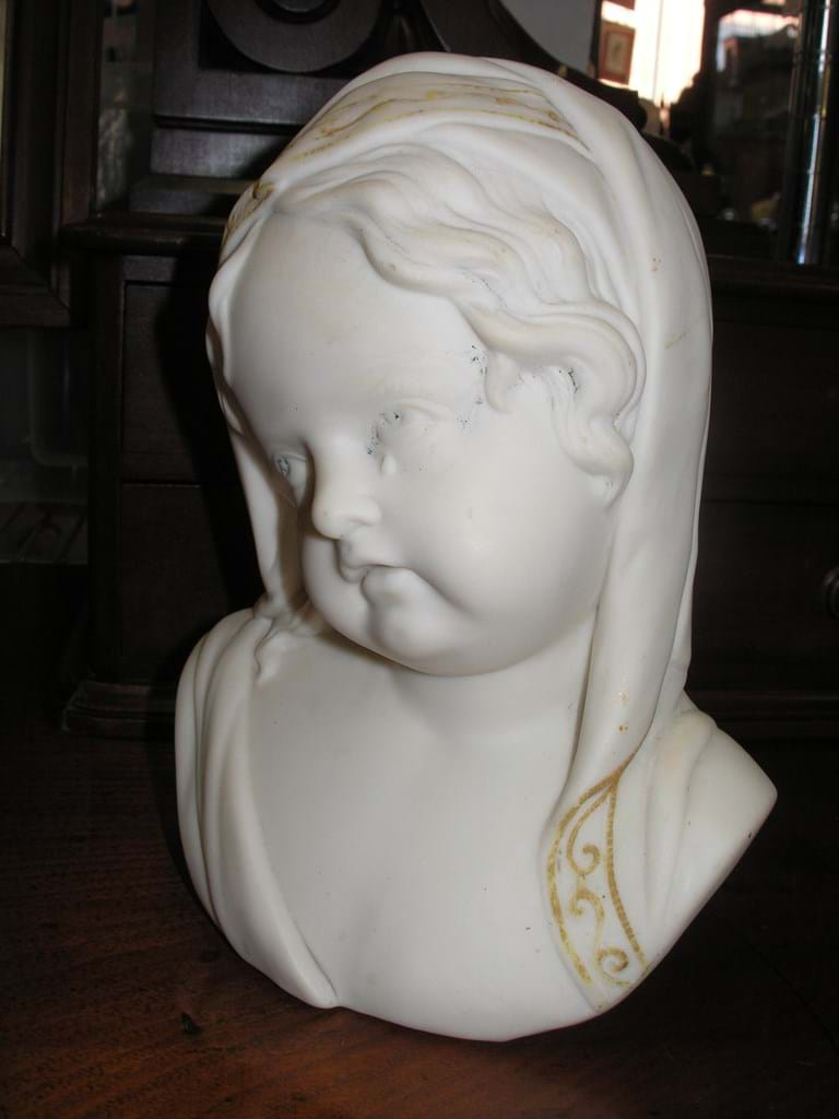 Victorian parian ware bust of weeping girl