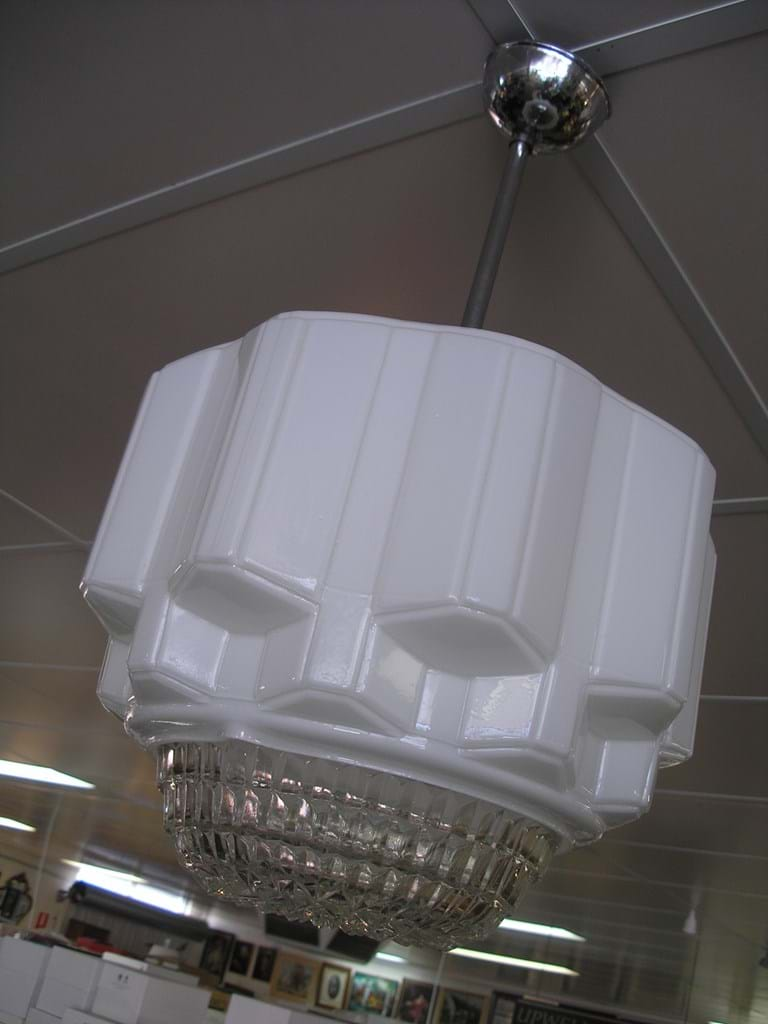 c1940s large milk glass suspension light