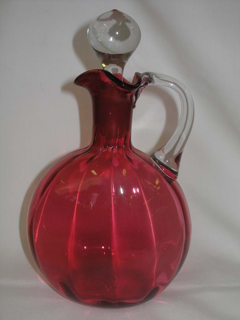 Victorian cranberry glass decanter