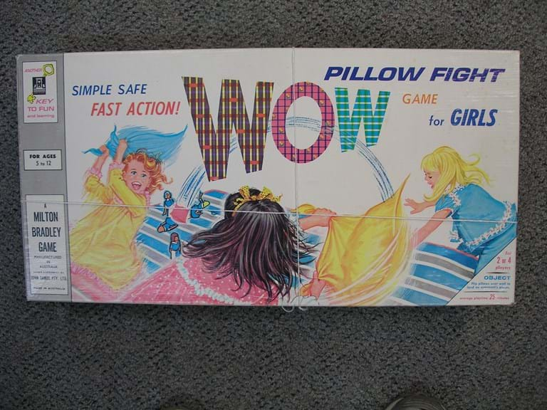 "1960s ""WOW"" pillow fight board game"