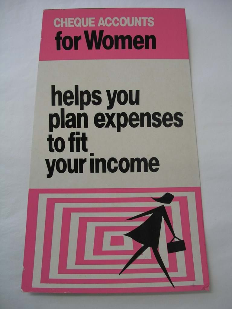 1970s cardboard sign advertising bank loans