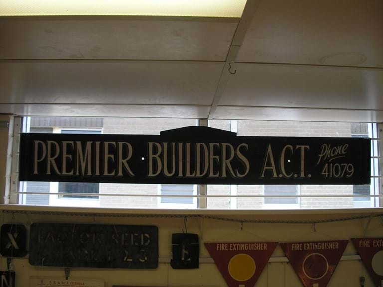 1960s Premier Builders advertising sign
