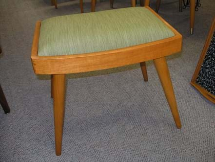 1950s upholstered timber stool
