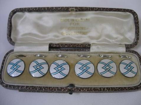 Cased set guilloche enamel sterling silver buttons